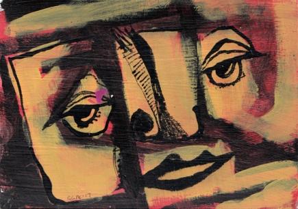 Acrylics, India ink. July 2017.